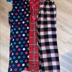 THREE Pajama Pants! Justice & Aeropostale